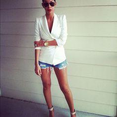 blazer and denim shorts