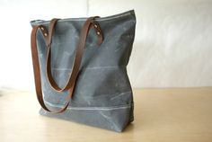 Simple Waxed Canvas Tote  Charcoal Grey  Leather by BarnacleBags, $98.00