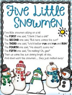 Five Little Snowmen --- Re-Telling Craftivity. by Teacher's Breathing Space Preschool Poems, Kindergarten Songs, Kids Poems, Preschool Music, Preschool Activities, Preschool Winter Songs, January Preschool Themes, Therapy Activities, Songs For Toddlers
