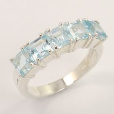 925 Sterling Silver Extra Ordinary Ring Size US 8 Natural BLUE TOPAZ Gemstone #Unbranded