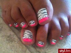 zebra rhinestone neon pink love the toes that's so what I love about nail polish and rhinestones. Omg