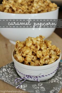 Caramel Popcorn: Gooey, caramely, and delicious. There isn't another caramel popcorn recipe that can top this. I've been addicted to it since before I can remember! Popcorn Recipes, Snack Recipes, Dessert Recipes, Popcorn Crafts, Popcorn Toppings, Popcorn Kernels, Popcorn Balls, Bakery Recipes, Sweet Recipes