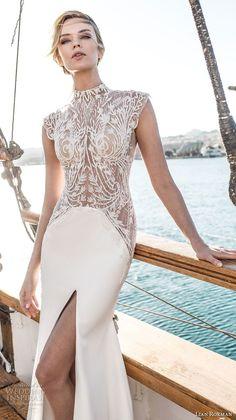 lian rokman 2017 bridal cap sleeves high neck heavily embellished bodice middle split skirt elegant a line wedding dress covered lace back short train (ruby) zv