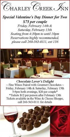 Special Valentine's Dinner and Wine & Chocolate Tasting