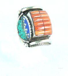 Anillo étnico tribal calavera con incrustaciones de turquesas coral y lapislázuli