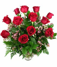 A classic Valentine's Day favorite from Dierbergs Florist. #600VD Dozen Long-Stem Roses Arranged in Vase.