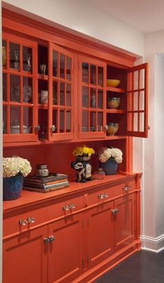 I'd love to do a pop of color like this when we finally get to our kitchen remodel. I can picture a cabinet like this with the fridge right next to in on our one random wall. Moroccan Lounge - eclectic - dining room - minneapolis - by Lucy Interior Design Furniture, House Design, House, Painted Furniture, Home, Moroccan Lounge, Orange Rooms, Eclectic Dining Room, Built In Cabinets