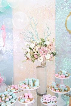 Dessert Table Details + Sweets from a Mermaid Oasis Themed Birthday Party via Kara's Party Ideas | KarasPartyIdeas.com (18)