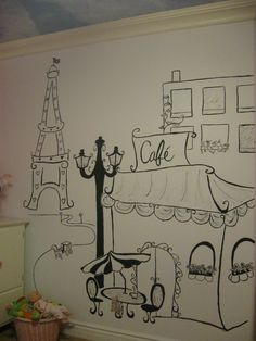 Hand drawn wall art... Paris themed room.