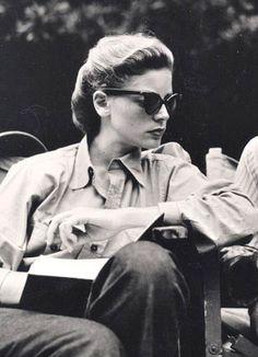 Lauren Bacall on set.