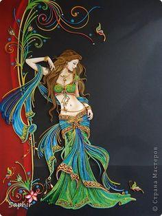 Картина панно рисунок Квиллинг Индийские мотивы Бумажные полосы фото 1