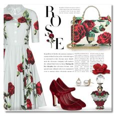"""Dolce & Gabbana Rose Print"" by debraelizabeth ❤ liked on Polyvore featuring Dolce&Gabbana"