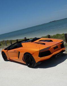 Jaw-dropper! Lamborghini Aventador Roadster in pearl atlas orange. #SexySaturday #spon
