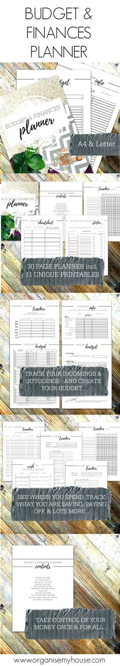 Budget and finances planner from Organise My House. Homemaking printables and planner that can help transform your home. Home file / Home Management Binder inserts - this can be used by itself or as part of the Home File Bundle (35% off when bought as part of the bundle)...