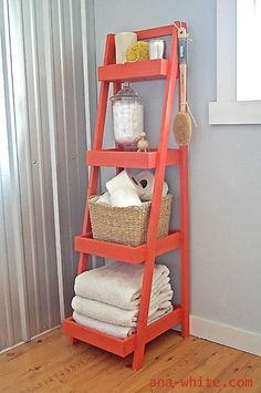 Storage shelf from ladder