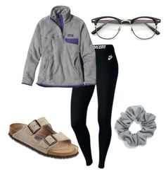 """""""studying"""" by ayeteeai on Polyvore featuring NIKE, Patagonia, Birkenstock and Natasha Couture"""