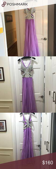 Prom dress La Femme purple prom dress with cut out bodice La Femme Dresses Prom