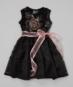 Look what I found on #zulily! Black & Rose Sequin Flower Dress - Infant, Toddler & Girls by Dreaming Kids #zulilyfinds