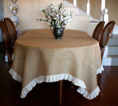 "108""x66""  Burlap Table Cloth with White Torn Linen Ruffle  Perfect for Thanksgiving. $93.00, via Etsy."