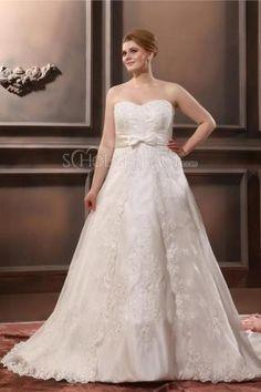 A-linie Schleife Straß Stickereien Satin Hochzeitskleid für Mollige