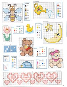 For all things baby Cross Stitch For Kids, Cross Stitch Boards, Mini Cross Stitch, Counted Cross Stitch Patterns, Cross Stitch Designs, Cross Stitch Embroidery, Baby Motiv, Crochet Cross, Christmas Cross