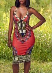 Halter Neck High Waist Printed Dress on sale only US$21.88 now, buy cheap Halter Neck High Waist Printed Dress at lulugal.com