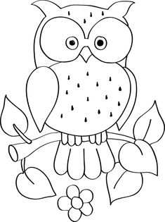 Owl Coloring Pages - Malen Art Drawings For Kids, Drawing For Kids, Easy Drawings, Embroidery Patterns, Hand Embroidery, Quilt Patterns, Owl Coloring Pages, Colouring, Owl Crafts