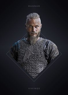 """Vikings Characters Ragnar Lothbrok #Displate artwork by artist """"Mequem Design"""". Part of a 7-piece set featuring artwork based on characters from the popular Vikings TV series. £35 / $46 per poster (Regular size) #Vikings #Ragnar #RagnarLothbrok #Lagertha #Bjorn #Rollo #Floki #Athelstan #Aslaug"""