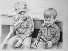 """"""" Boys will be boys"""" commissioned original by Audrey Bottrell Parks"""