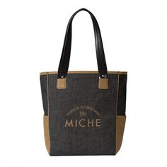 The Maxine Shell fits a Demi Base Bag perfectly, but her silhouette gives her a trendy tote bag look and feel. Maxine features sporty denim fabric in charcoal black with tan faux leather trim. Check out the tan embroidered lettering and monogram! Rectangle bottom; side pockets.