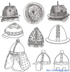 Different types of Yuan helmets. Notice that the hat-shaped helmets were still quite common. The Yuan Mongols probably copied the idea of hat-shaped helmets from Jurchens or Chinese.