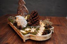 """Weihnachtsdeko - Adventsdeko """"Zauberwald mit Sternen"""" - Tablett - ein Designerstück von Vintage-Romance bei DaWanda"""