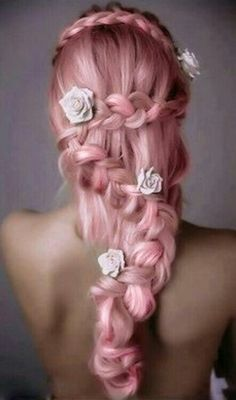 White roses in pink hair with a braided hairstyle, simply beautiful!