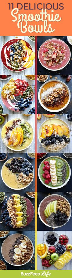 11 Stunning Smoothie Bowls That Are Healthy And Delicious AF Simple Healthy Breakfast Recipes, Make Breakfast, Healthy Diet Breakfast, Healthy Breakfast Smoothie Recipes, Breakfast Detox Smoothie, Healthy Food Ideas To Lose Weight, Simple Smoothie Recipes, Raw Diet Recipes, Fast Breakfast Ideas