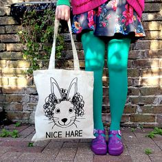 Nice Hare Tote Bag Screenprinted Tote by hello by helloDODOshop