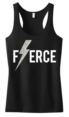 FIERCE Glitter Lightning Black Workout Tank, Workout Clothing, Workout Tanks, Gym Tank, crossfit tank top, Crossfit, Workout Shirt, Fitness