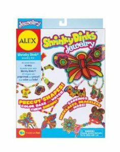 Alex Toys Shrinky Dinks Kit, Jewelry by Alex Toys. $7.65. Sold Individually as 1 Each. Make lots of cool SHRINKY DINKS jewelry. Includes over 30 precut Shrinky Dink shapes, 8 colored pencils, beads, earring hoops, barrettes, string and clasps.