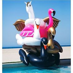 Inflatable Giant Swimming Pool Lounge Float Raft Air Tube Swim Ring Water Fun