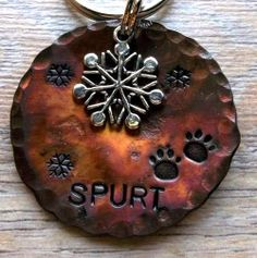 "ASPEN's New Dog Tag!!  Snowflakes 1.5"" Circular Pet ID Tag. $14.00, via Etsy."