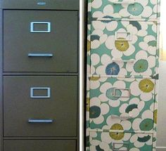 Continued refurbished organization. ~ Mod Podge Rocks! (decopaged wrapping paper on metal file cabinet. hate the pattern like the idea)
