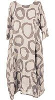 Ladies Womens Italian Lagenlook Quirky Short Sleeve Abstract Circle Print 2 Side Pocket Linen Long Dress One Size UK 12-16