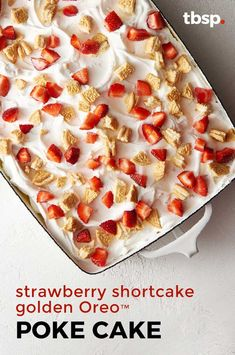 We're calling it: This easy poke cake is the ultimate summer dessert. Filled with jam and pudding then topped with Oreos, whipped topping and strawberries, it's a totally refreshing take on your classic strawberry shortcake. Mini Desserts, Summer Desserts, Dessert Recipes, Light Desserts, Summer Dishes, Cake Recipes, Strawberry Poke Cakes, Strawberry Shortcake, Strawberry Trifle