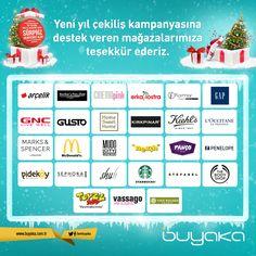 Yeni yıl çekiliş kampanyasına destek veren mağazalarımıza katkılarından dolayı teşekkür ederiz... #Buyaka #Çekiliş #Kampanya #YeniYıl #BuyakaBiBaşka