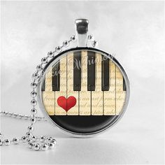PIANO KEYS Music Jewelry Glass Tile Art Pendant by PixieWhimsy, $8.95