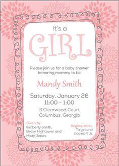 Girl Baby Shower Invitation - Pink Flowers. $20.00, via Etsy.