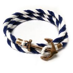 Anchor cord bracelet, Mens wrap bracelets, bracelet for men with colorful cord bracelet , gold anchor charm, sailor bracelet,  The bracelet is 8