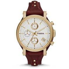 Fossil Original Boyfriend Chronograph Leather Watch Red (1 730 ZAR) ❤ liked on Polyvore