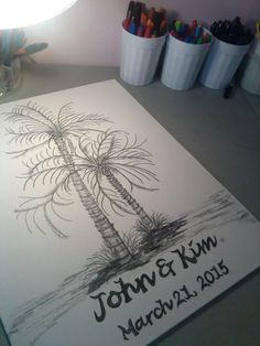 X small fingerprint palm tree beach wedding guest book hand beach wedding destination wedding palm tree guest bookcustomized personalized guests sign names on the fronds and trunk unique fun sciox Gallery