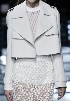 Cropped white jacket + textured sheer skirt; layered white fashion details // Balenciaga SS15