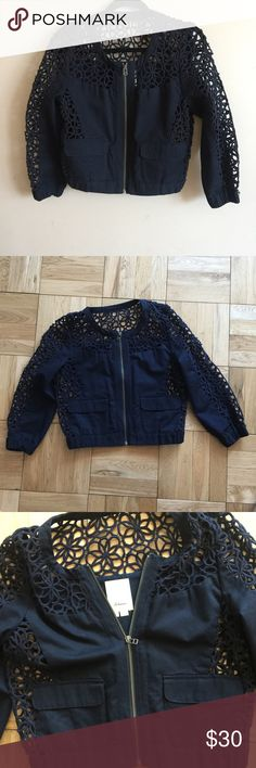 """{Anthropologie} Elevenses soutache lace jacket Navy blue 3/4 sleeve bomber jacket. Front zip closure. Size 4. Length: 18"""", Arm length: 19.5"""" , Pit to Pit: 18""""            Great condition. Anthropologie Jackets & Coats"""